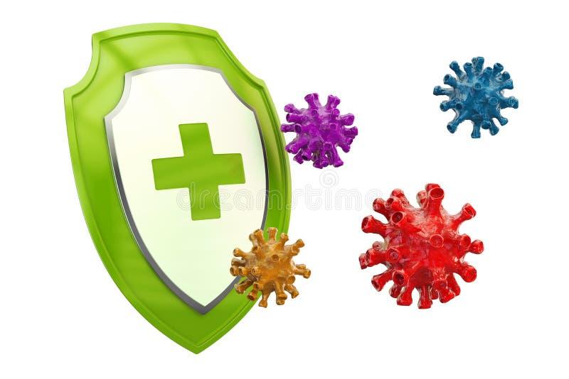 Antibacterial eller antivirussköld, sjukvårdbegrepp 3d framför vektor illustrationer