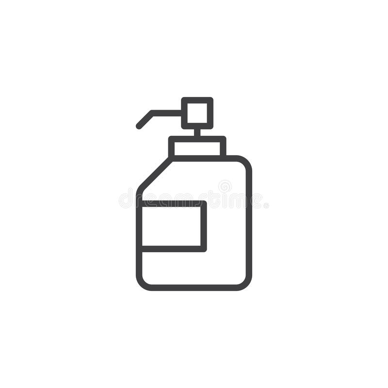 Antibacterial hand sanitizer, disinfection gel line icon, outline vector sign, linear style pictogram isolated on white. Symbol, logo illustration. Editable vector illustration