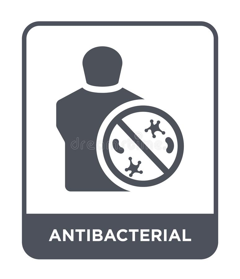 Antibacterial icon in trendy design style. antibacterial icon isolated on white background. antibacterial vector icon simple and. Modern flat symbol for web royalty free illustration