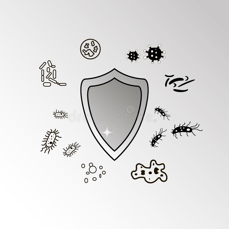 Antibacterial protection, no bacteria sign. Protector stock illustration