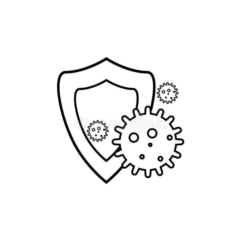 Antibacterial protection vector icon. On white background stock illustration