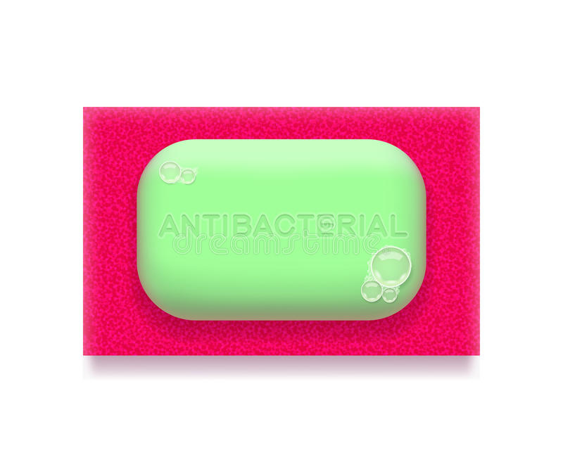 Antibacterial soap. Green antibacterial soap is lying on bright pink sponge, on white background. Hygiene and health concept royalty free illustration