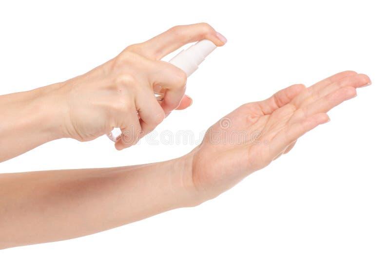 Antibacterial sprej för händer som är antiseptiska för händer royaltyfri fotografi