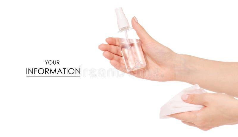 Antibacterial sprej för våta wipes för handantiseptiskt medel i handmodell royaltyfri foto