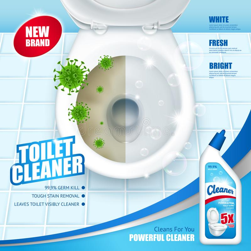 Antibacterial Toilet Cleaner AD Poster. Including lavatory pan with green microbes and soap bubbles 3d vector illustration royalty free illustration