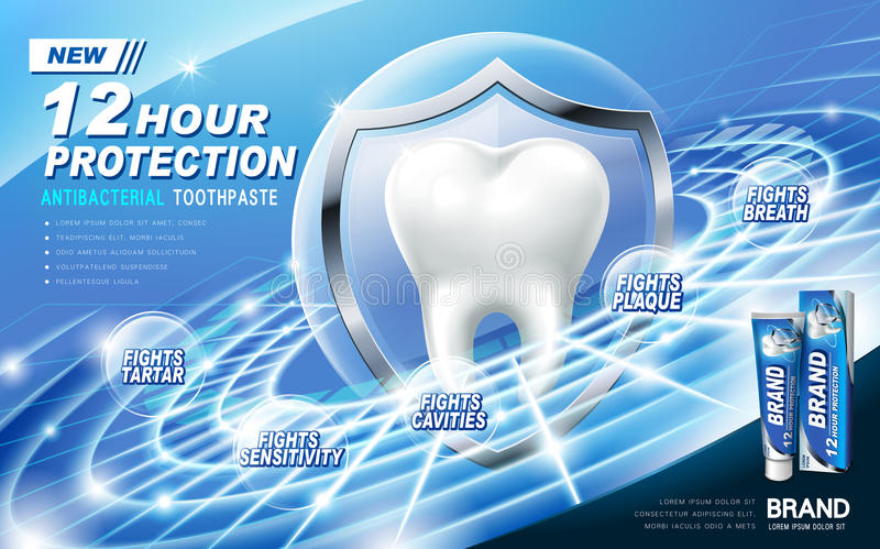 Antibacterial toothpaste ad. Contained in blue tube, technical ring background stock illustration
