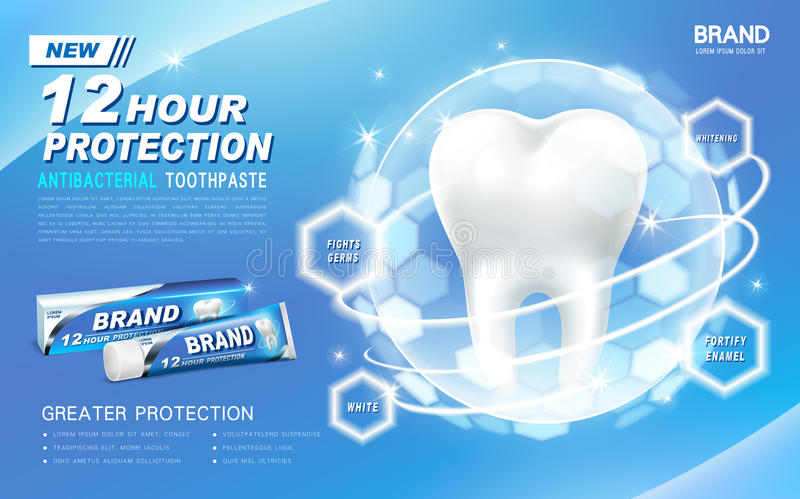 Antibacterial toothpaste ad. Contained in blue tube, with a tooth coated in a transparent light ball vector illustration