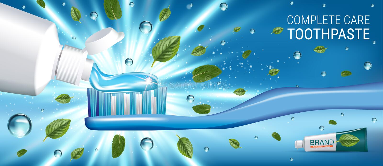Antibacterial toothpaste ads. Vector 3d Illustration with toothpaste and mind leaves. Horizontal banner with product stock illustration