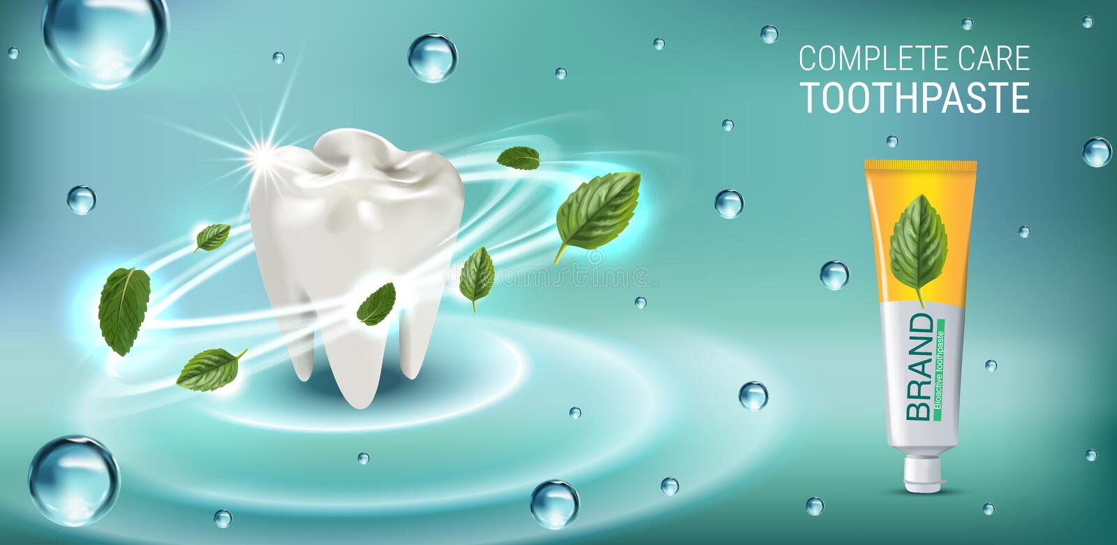 Antibacterial toothpaste ads. Vector 3d Illustration with toothpaste and mind leaves. Horizontal banner with product vector illustration