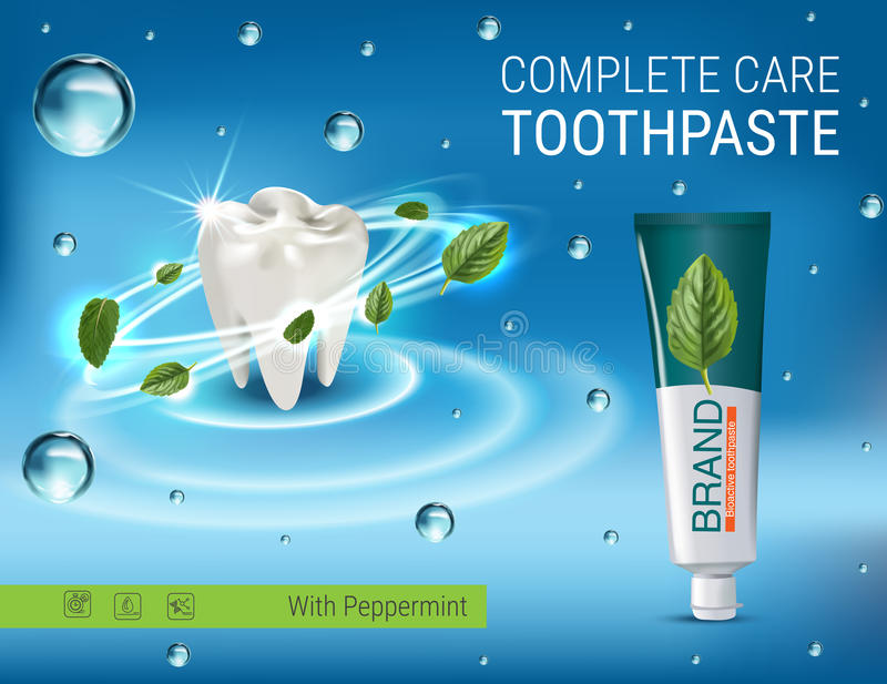 Antibacterial toothpaste ads. Vector 3d Illustration with toothpaste and mind leaves. Poster with product vector illustration