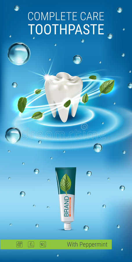 Antibacterial toothpaste ads. Vector 3d Illustration with toothpaste and mind leaves. Vertical banner with product royalty free illustration