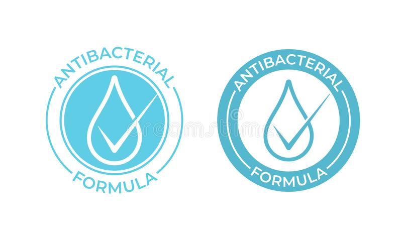 Antibacterial vector icon. Anti bacterial formula sign, hand soap and chemical products package seal. Stamp stock illustration