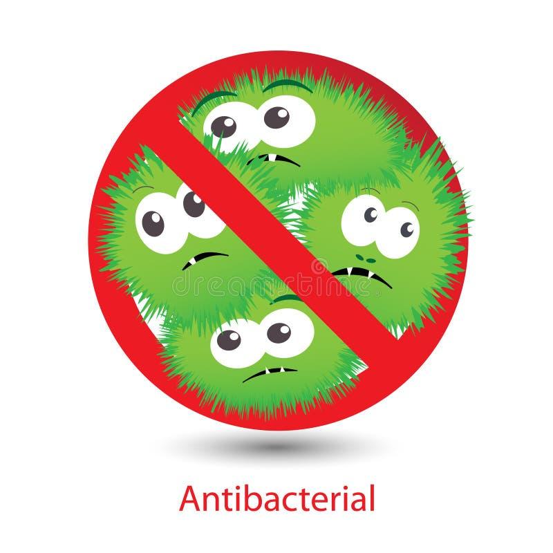 Antibacterial znak z kreskówki śmiesznymi bakteriami ilustracji