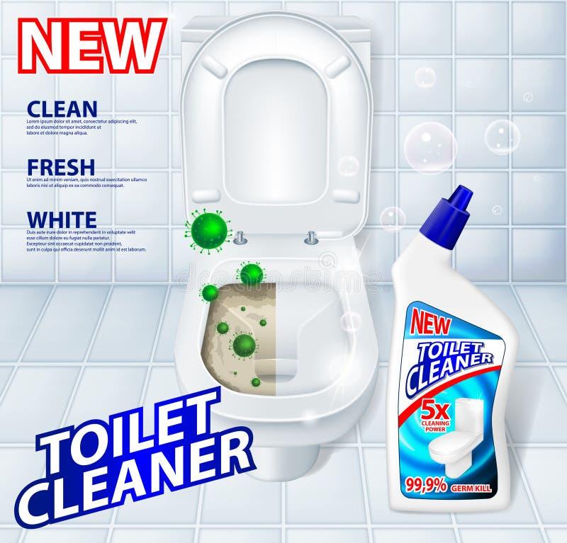 Antibacteriano do toalete, cartaz detergente do anúncio do líquido de limpeza que inclui micróbios verdes ilustração royalty free
