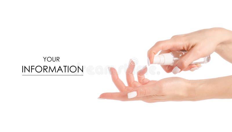 Antibakterieller Spray für die Hände antiseptisch für Handmuster stockfotos