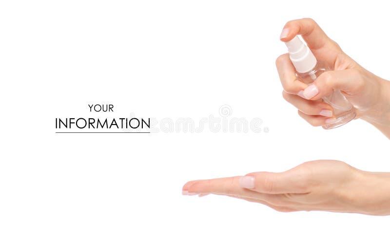Antibakterieller Spray für die Hände antiseptisch im Handmuster stockbild