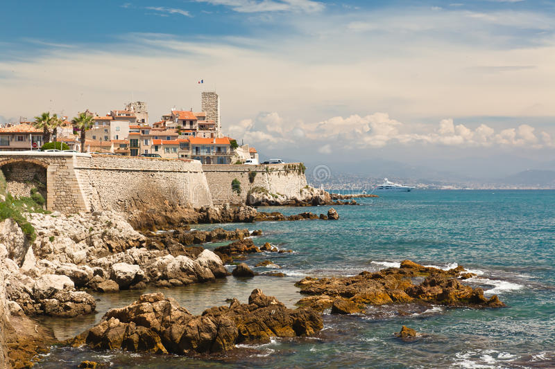 Antibes. Looking towards Nice on the Cote d'Azur stock images