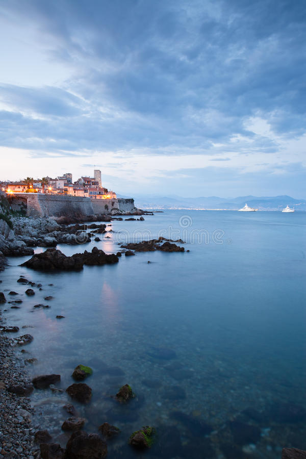 Antibes. Old Town looking towards Nice on the Cote d'Azur royalty free stock photos