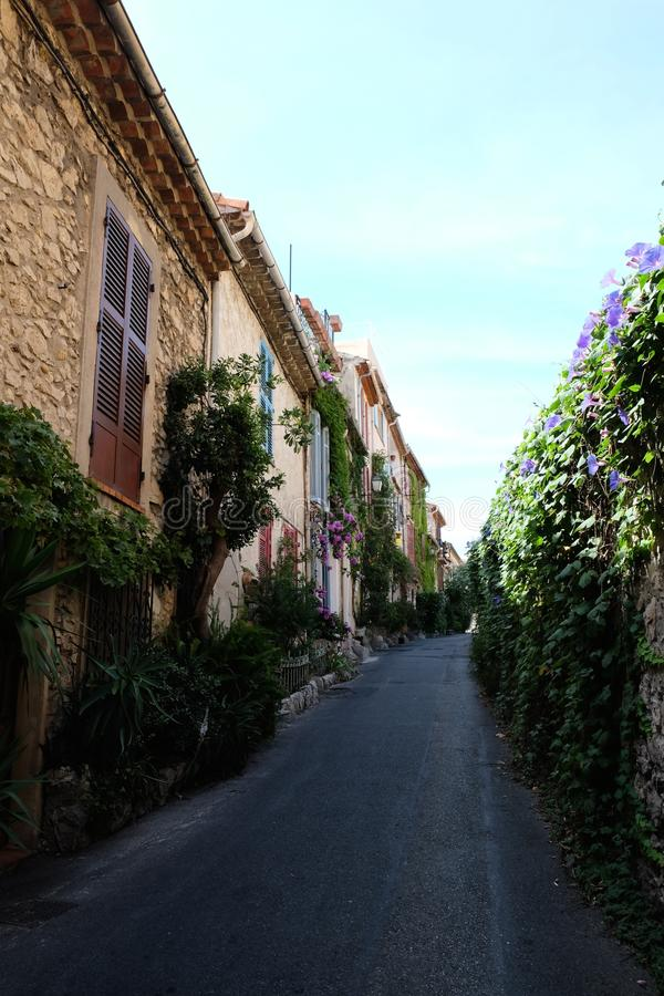 Antibes Alley. Colorful small street in Antibes Old City stock photography