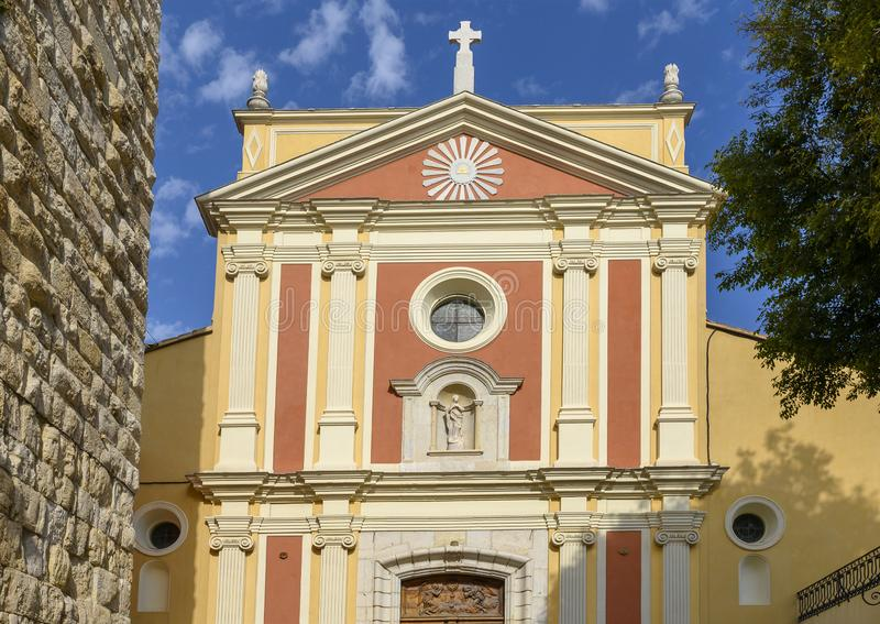Antibes Cathedral, a Roman Catholic Church located in the town of Antibes on the French Riviera royalty free stock photo