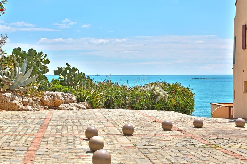 Antibes, France - June 16, 2014: picturesque seafront. Antibes, France - June 16, 2014: picturesque mediterranean seafront royalty free stock image