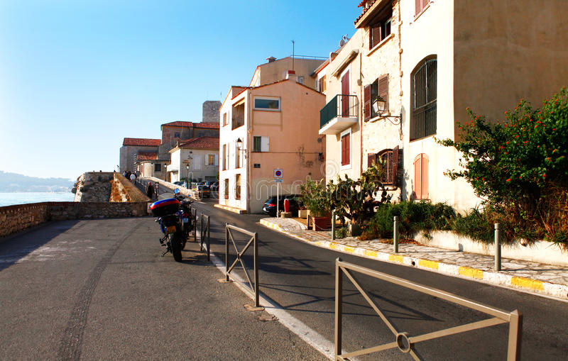 Antibes, France - October 17, 2011: Street in the old town Antibes. In France stock image