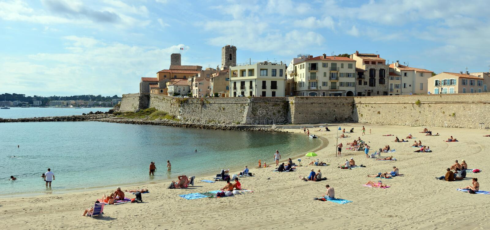 People Sunbathing on Antibes Beach , Cote d`azur, provence franc stock photos
