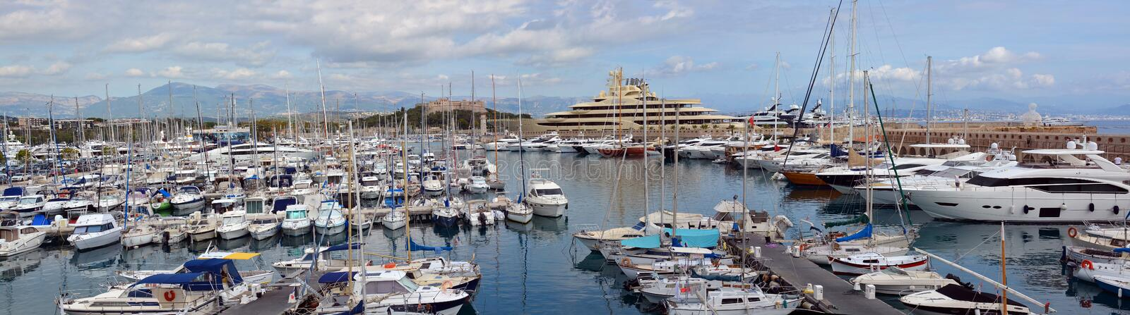 Antibes Marina Panorama, Cote a`zur; provence, france royalty free stock photo