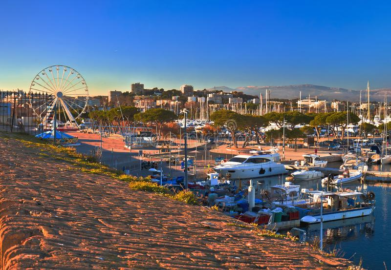 Antibes waterfront and Port Vauban harbor panoramic view. Southern France stock images
