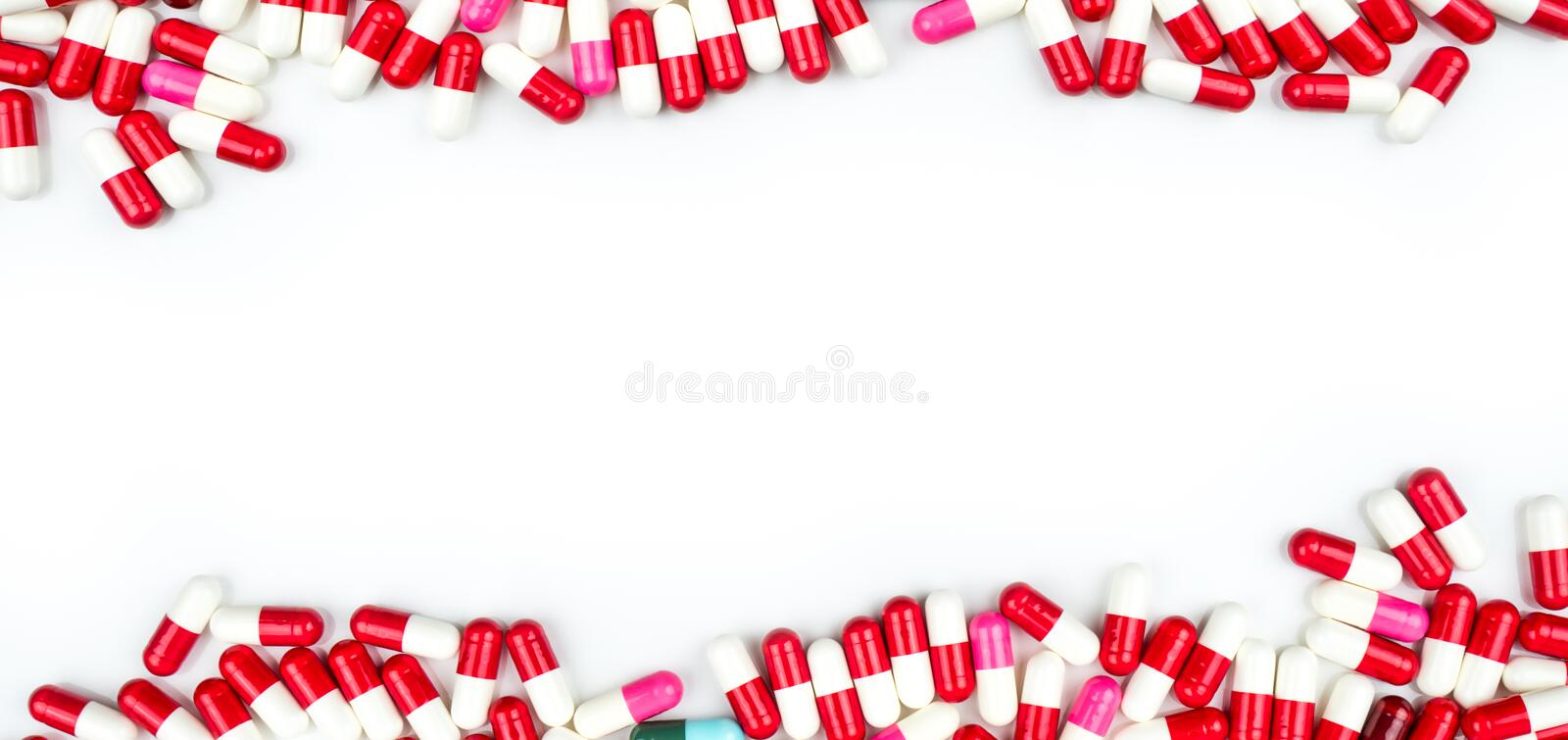 Antibiotic capsules pills isolated on white background with copy space for text. Drug resistance concept. Antibiotics drug use. Colorful of antibiotic capsules royalty free stock images