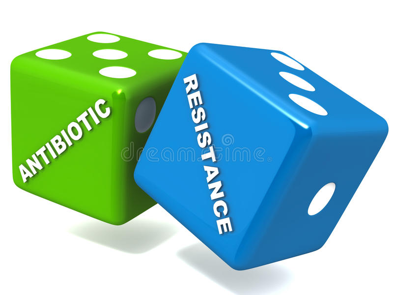 Antibiotic resistance. Gamble concept, dice with words on white stock illustration