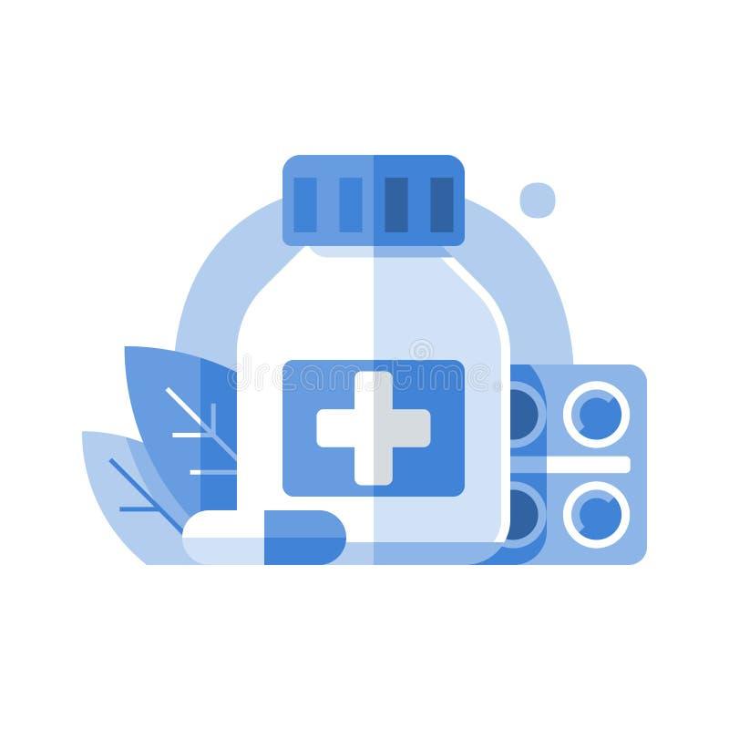 Antibioticafles en tabletbar, apotheek en geneeskunde, medische drugs, preventief geneesmiddel, medicijntherapie, gezondheidszorg royalty-vrije illustratie