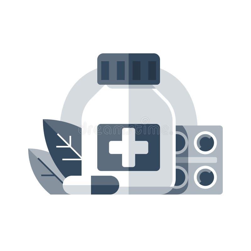 Antibioticafles en tabletbar, apotheek en geneeskunde, medische drugs, preventief geneesmiddel, medicijntherapie, gezondheidszorg vector illustratie