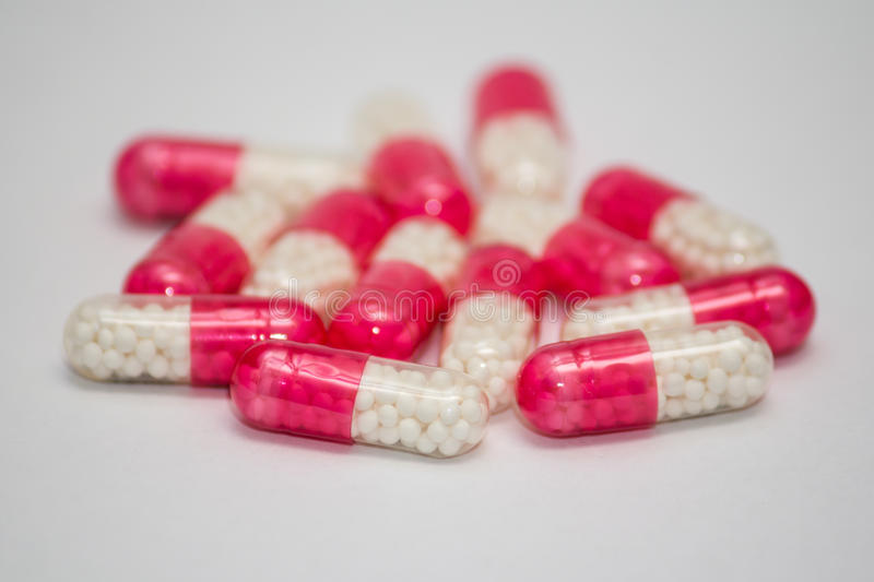 Antibiotics. Close-up with antibiotic tablets.Shallow depth of field royalty free stock image