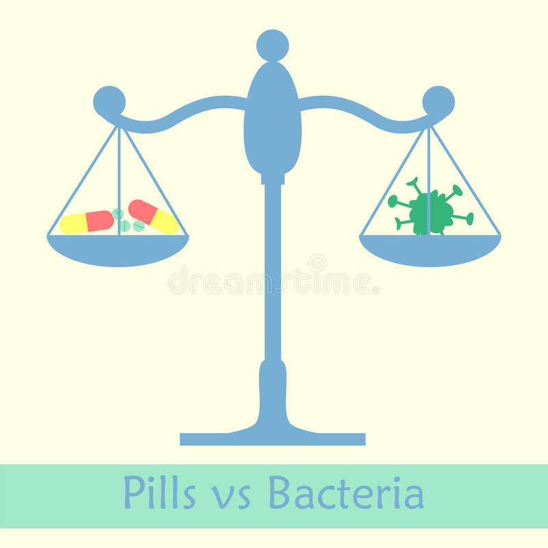 Antibiotics vs bacteria libra stock illustration