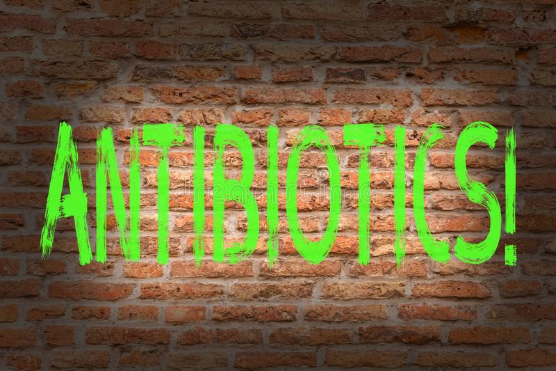 Antibiotikummar för ordhandstiltext Affärsidé för tegelsten för desinfektionsmedel för Antibacterial drog aseptisk sterilisera sa arkivbild
