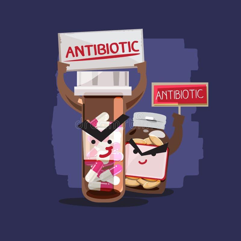 antibiotisch charcter ontwerp - vector royalty-vrije illustratie