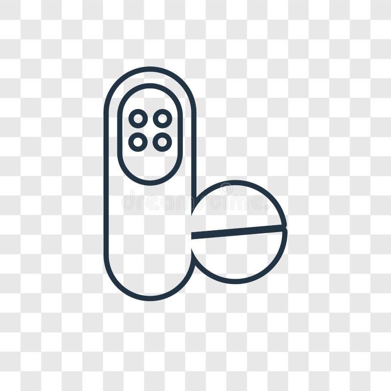 Antibiotisch concepten vector lineair die pictogram op transparante bedelaars wordt geïsoleerd vector illustratie
