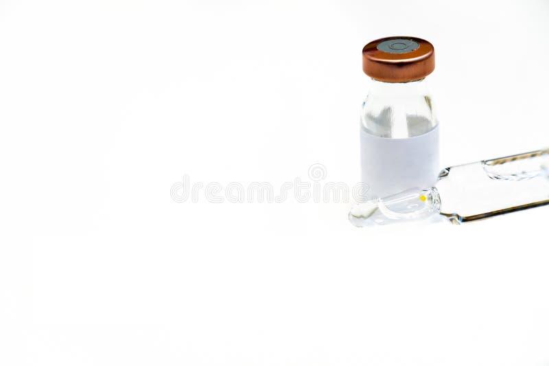 antibiotisch flesje en oplosmiddel stock foto's