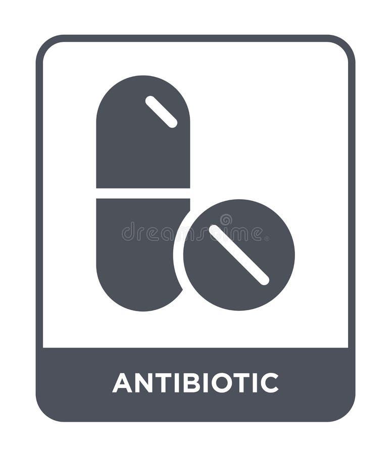 antibiotisch pictogram in in ontwerpstijl antibiotisch die pictogram op witte achtergrond wordt geïsoleerd antibiotisch vector ee stock illustratie