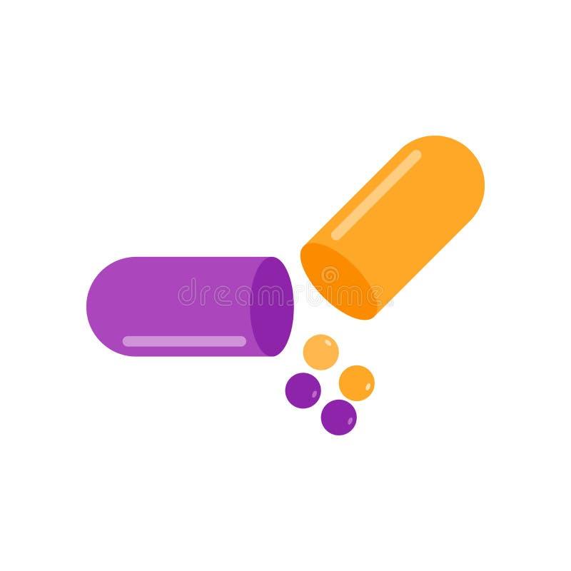 Antibiotisch pictogram vectordieteken en symbool op witte backgro wordt geïsoleerd royalty-vrije illustratie