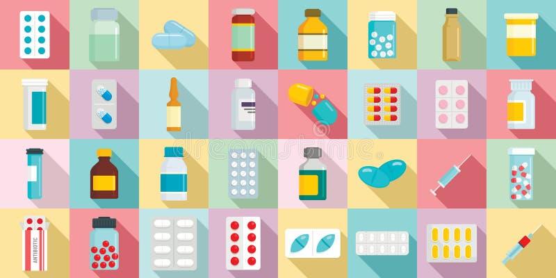 Antibiotischer Ikonensatz, flache Art lizenzfreie abbildung