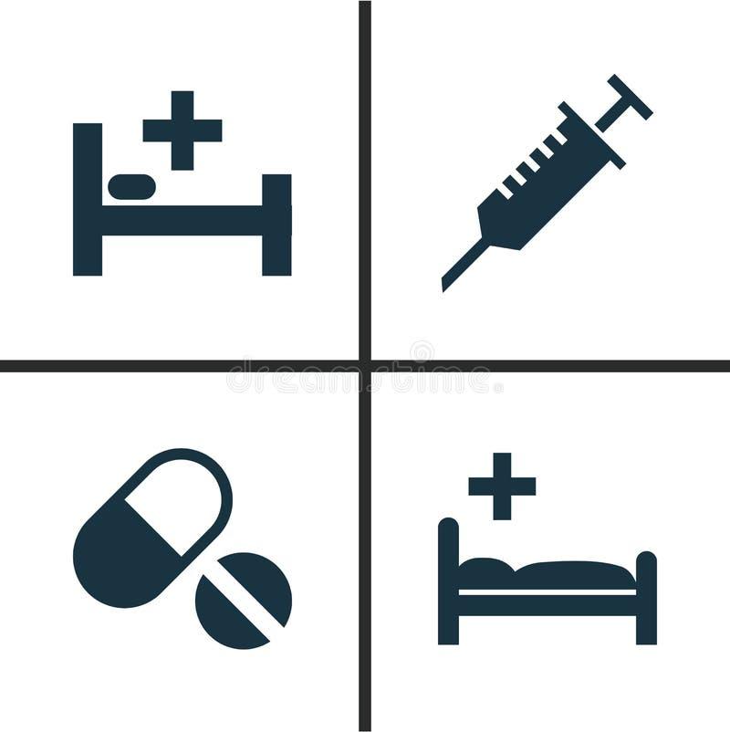 Antibiotisk symbolsuppsättning Samling av poliklinik, hack, preventivpillerar och andra beståndsdelar Inkluderar också symboler l vektor illustrationer