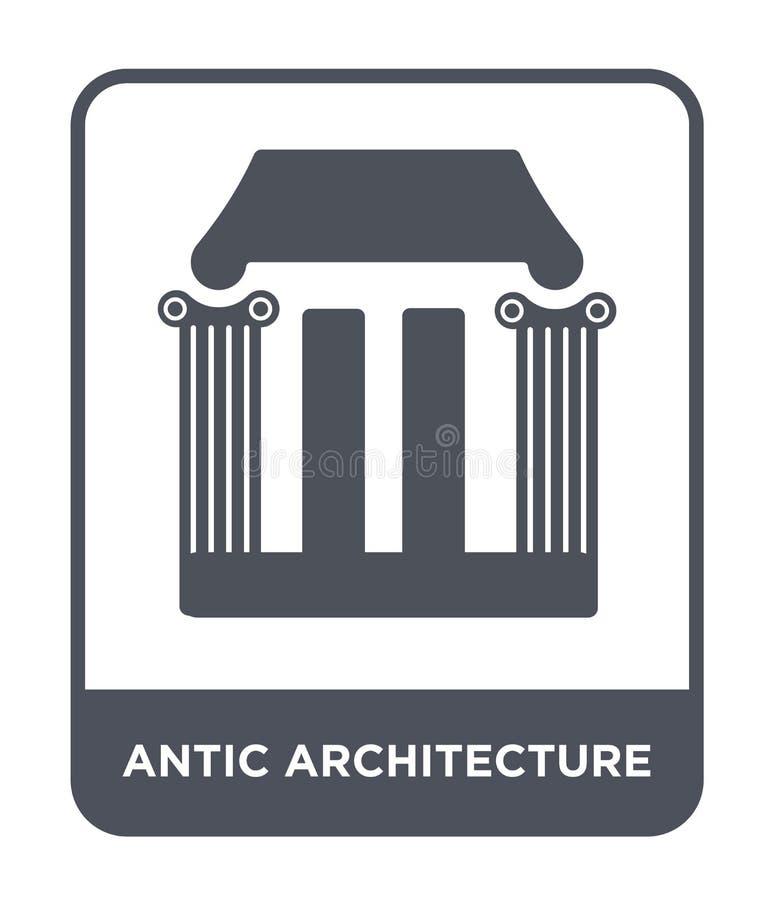 antic Architekturikone in der modischen Entwurfsart antic Architekturikone lokalisiert auf weißem Hintergrund antic Architekturve stock abbildung