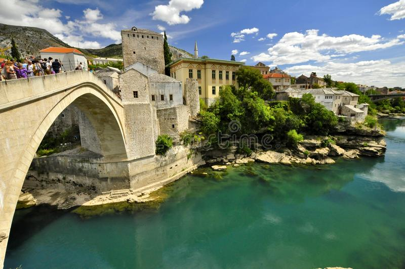 Antic bridge with river below. Mostar main bridge with river below royalty free stock photography