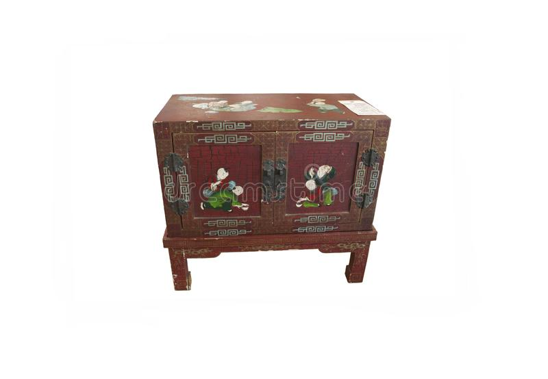 Antic chest parted in Japanese style. Retro vintage antic piece of furniture. Japanese Chinese chest of treasure, old ancient hand painted box. auction bill royalty free stock images