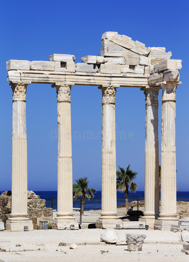Antic city of Side. Ruins of the antic Apollo temple of Side stock photos