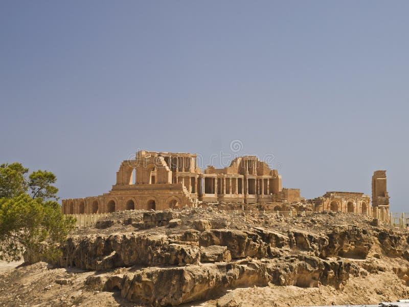 The antic theatre. Antic theatre in libyan Sabrata stock photos