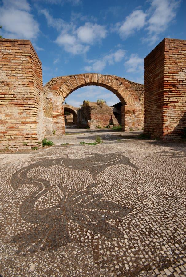 antica意大利罗马马赛克的ostia 免版税图库摄影