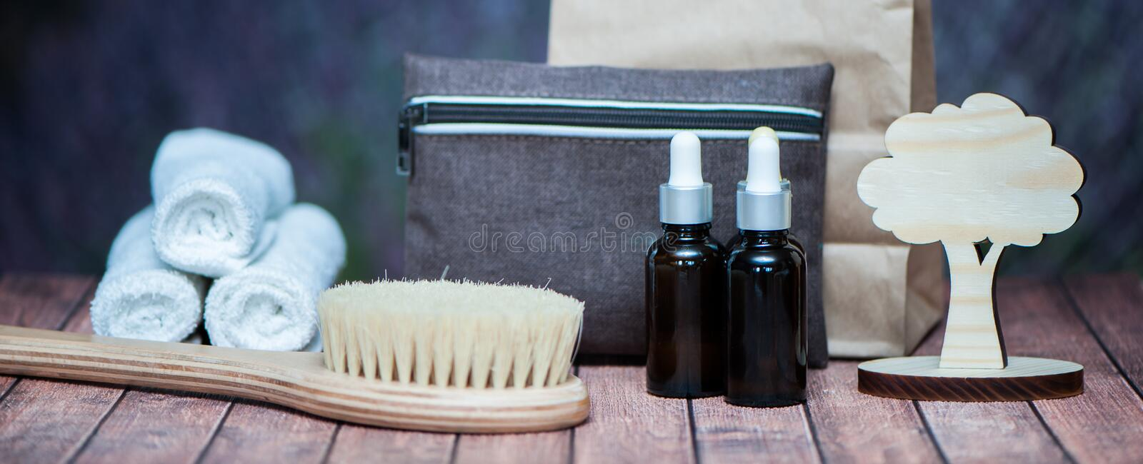 Anticellulite, organic, bio, natural cosmetics. Remedy for cellulite massage, spa. Natural oils and massage brush, blue clay royalty free stock images